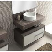 Armário de Banheiro 1 Porta e 2 gavetas Bumi Pro 80cm Linho - 3900204