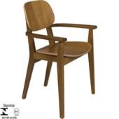 Cadeira de Madeira Tramontina London em Tauarí Amêndoa com Braços
