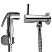 Ducha Higienica manual c/registro e flexivel metálico 1/4 volta Delicatta Slim
