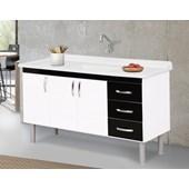Gabinete de Cozinha com 2 Portas 3 gavetas A.J.Rorato 150cm Branco e Preto - 539415