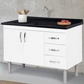Gabinete de Cozinha com 2 Portas e 3 Gavetas A.J.Rorato Tóquio 116,2cm Branco - 539202