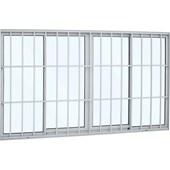 Janela de Correr Grade Classic Alumínio 100X200X9.4  4 Folhas Branco - Sasazaki