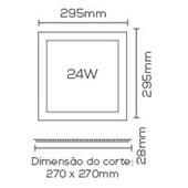 Plafon LED Embutido Slim Painel Quadrado 29,5 x 29,5 Cm 24W 6000k Evoled